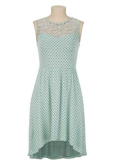 High-Low Hem Lace and Polka Dot Dress available at #Maurices