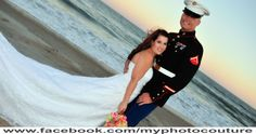 #wedding #couple #military #marinecorps #bride #groom #dress #beach #water #sand #sunset #photography #myphotocouture