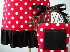 REVERSIBLE Matching Aprons Minnie Mouse Inspired by CremeDeLaHem, $65.00 Aprons, Drawstring Backpack, Minnie Mouse, Daughter, Inspired, Sewing, Trending Outfits, Unique Jewelry, Board