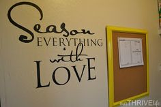 pantry oganization ideas - LOVE this neat wall deco idea in kitchen