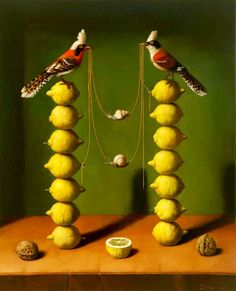 Ilya zomb - animals, birds, balance in art, balance art, balance of art Illustration Arte, Illustrations, Elements And Principles, Elements Of Art, Symmetrical Balance, Balance Art, Paint Types, Magic Realism, Mellow Yellow