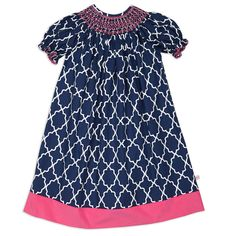 Navy Lattice Hot Pink Smocked Corduroy Dress