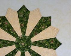 """Christmas Table Topper, Holiday Table Topper. Quilted Table Topper, Round Table Topper, Round Table Runner, """"Shimmering Snowflakes II"""" by PrimitivePatchworks on Etsy"""