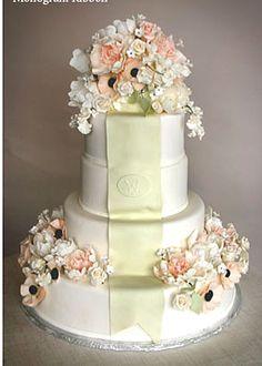 monogrammed ribbon wedding cake