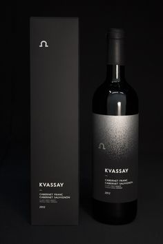 Eszter Misztarka was commissioned to create packaging for Kvassay Wine with a classic black and white design.