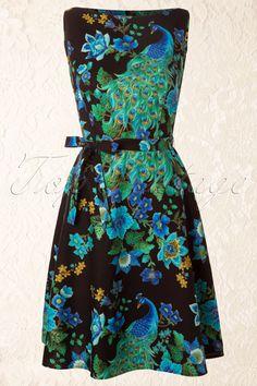 Heart of Haute - 60s Monique Royal Peacock Dress Black