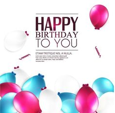 Elegant Happy Birthday balloon background vector 03