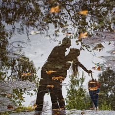 Like this idea for couples pic...reflection in a fall puddlebut w/lake