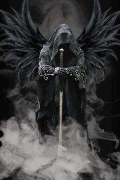 Change to a ring wraith Drake, Black Wings, Death Angel Tattoo, Fallen Angel Tattoo, Angel Warrior Tattoo, Guardian Tattoo, Dark Gothic Art, Gothic Fantasy Art, Dark Fantasy