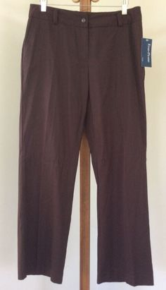 Evan Picone Pants Size 10P Petite NEW Dress Brown Textured Stripe #EvanPicone #DressPants