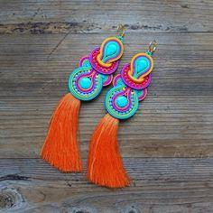 Colorful and ethnic soutache earrings oorbellen Orecchini Soutache Necklace, Tassel Earrings, Crochet Earrings, Statement Jewelry, Boho Jewelry, Fashion Jewelry, Jewellery, Decorative Tape, Diy Accessories