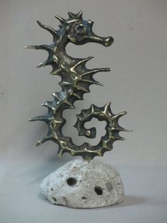 Bronze Other Aquatic Creatures Seahorse Star Fish Jellyfish Sea Urchins Sculptures Statues #sculpture by #sculptor Goran Gus Nemarnik titled: 'Dragon Like (Sea Horse Outsize Big bronze Metal statuette statue)' #art