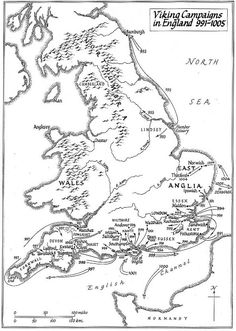 where the Viking Campaigns in England century took place and the challenge to the Anglo Saxon rule begins. Anglo Saxon History, European History, British History, American History, Vikings, Anglo Saxon Tattoo, Map Of Britain, England Map, Viking Age