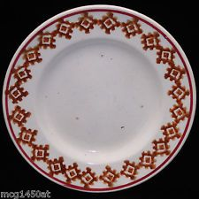 Childs Stick Spatter Spongeware Plate c1890 Allerton Staffordshire England