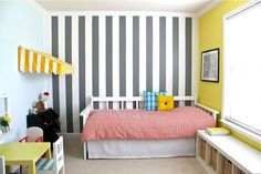 I just love stripes, especially grey and yellow