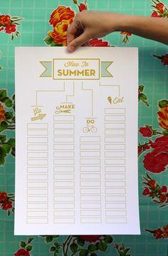 Lista imprimible para cosas que hacer este verano, muy visual :) >> a how to summer list is my fave