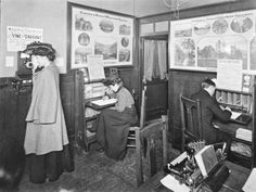 Inside the writing room at Euston station, about 1908. These rooms were used by passengers who needed to make telephone calls or send telegrams. By 1908 over 1000 British stations had telegraph facilities for public use. Passengers had to pay a small charge to use the facilities.