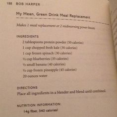 Mean green drink meal replacement from Bob harpers the skinny rules