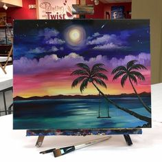 Canvas painting nature, canvas art, tree canvas, sunset paintings, sunset a Cute Canvas Paintings, Easy Canvas Painting, Diy Canvas Art, Diy Painting, Painting & Drawing, Painting Abstract, Tree Paintings, Acrylic Canvas, Watercolor Art