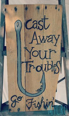 Cute hand painted hook and fishing quote