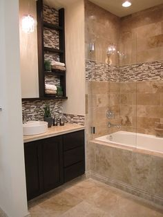 #travertine and stone glass mixed #mosaic #bathroom