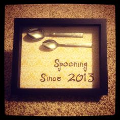 My rendition of the Pinterest craft I saw. Shadow box with two dollar store spoons, scrapbook paper and sharpie. Hanging in my bedroom. The boyfriend loved it!