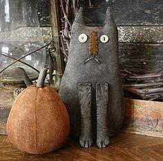 halloween primitives | Primitive Halloween Whimsical Felix Cat Doll and Pumpkin Gathering