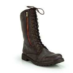 Dark Brown Military Inspired Lace Up Mid Calf Combat Boot