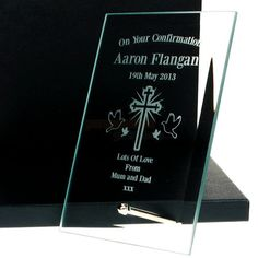 Engraved Confirmation Glass Plaque  from Personalised Gifts Shop - ONLY £24.95