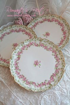 Oh so pretty and feminine French Haviland china in pink, soft green and luxuriously trimmed in gold.