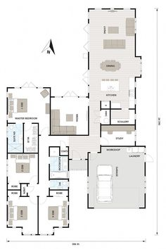 Floor Plan Friday: Laundry in the garage Hello there! Back today with another floor plan. Here's a 4 bedroom, with media room plus study a House Layout Plans, New House Plans, Dream House Plans, Modern House Plans, Modern House Design, Bungalow Floor Plans, Garage Floor Plans, Home Design Floor Plans, House Floor Plans