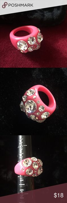 Retro HOT Pink Bling Ring Awesome throwback HOT Pink Bling Ring! Made of molded lucite and embedded with fabulous sparkling white rhinestones. In excellent condition. Size 6-1/2. Jewelry Rings