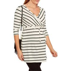 Oh! Mamma Maternity 3/4 Sleeve Surplice Top With Belt--Perfect For Nursing, Size: Small, Beige