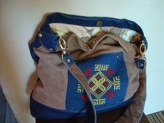 Leather bag///Mixed camel leather blue leather recycled