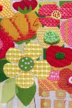 Good stitches in needlepoin flowers