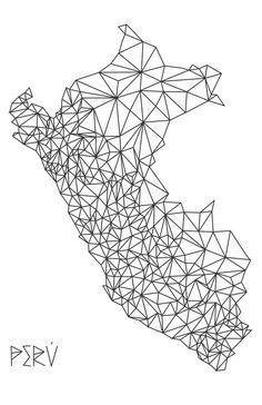 Mapa Peru Art Print by Romivavi - X-Small Peru Tattoo, Peruvian Art, Sketches Of People, Tattoo Inspiration, Small Tattoos, Line Art, Ink, Art Prints, Wallpaper
