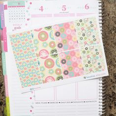 Donut Theme Full Boxes Sticker Planner // Perfect for Erin Condren Life Planner by FasyShop on Etsy