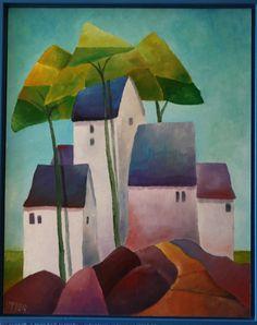 "Herbert Immer Willems - artist Olieverfschilderijen | Oil Painting ""Spring in Village"" 40x50cm♥♥"
