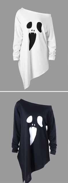 halloween costumes:Halloween Plus Size Skew Neck Asymmetric Graphic Sweatshirt