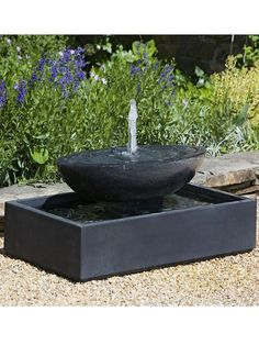 Recife Tiered Stone Fountain - Dark Brown Patina Water feature in garden Small Water Features, Outdoor Water Features, Water Features In The Garden, Stone Garden Fountains, Garden Stones, Fountain Garden, Outdoor Fountains, Indoor Fountain, Fountain Ideas