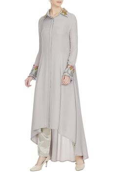 Buy Grey double georgette resham embroidered tunic by Manish Malhotra at Aza Fashions