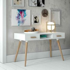 Modern White Desk with Oak Legs and Handles with 2 Drawers Studio Furniture, Office Furniture, Office Decor, Home Furniture, Desk Office, Modern White Desk, White Desks, White Desk With Drawers, Home Interior