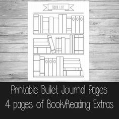 Book/Reading Bullet Journal Extra Pages -------------------------------------------------------- Please note this is a digital listing and is for extra bullet journal pages. The Basic Bullet journal can be purchased here: https://www.etsy.com/uk/listing/271382845/printable-bullet-journal-pages-a5-us This download contains a 4 pages PDF: 1. Bookshelf Reading List 2. To-read list 3. Book notes/review page 4. Reading log This download allows you to keep track of how many books youve read th...