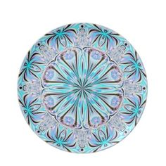 Aqua and Lavender Fractal Flower Plate