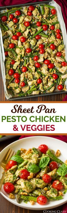 Sheet Pan Pesto Chicken with Asparagus Tomatoes and Walnuts - super easy, flavorful and healthy sheet pan meal! @fishernuts #ThinkFisher #ad