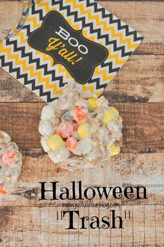 "The perfect Halloween treat: candy corn M&M ""trash"""