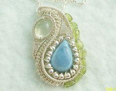 Blue Opal Prehnite Peridot .925 Sterling Silver Wire Wrap Heady Pendant #Pendant #blueopal #headywirewrap