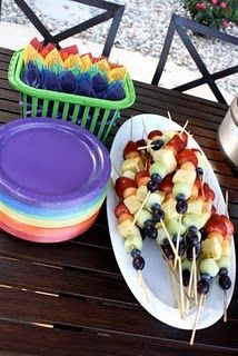Rainbow Fruit Kabobs and Rainbow Utensils