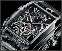 Maitres du Temps' Chapter One watch gets a Black Dial edition (think gothic meets steampunk); it features a tourbillon and two rolling bars for day of the week and moon phases.