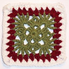 This Cranberry Christmas Granny Square is simple and elegant. Learn how to crochet granny squares for Christmas afghans. Create this holiday square with three Christmas colors: cranberry red, white, and forest green.